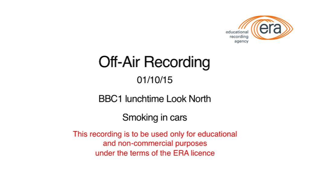 Smoking Ban - BBC1 lunchtime Look North