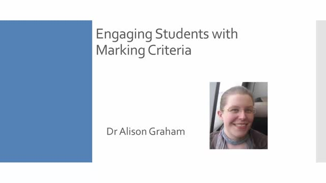 Engaging with marking criteria